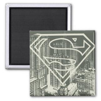 Superman Stylized | Green Metropolis Logo Square Magnet