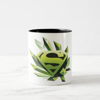 Superman Stylized | Green Shield Logo Two-Tone Coffee Mug