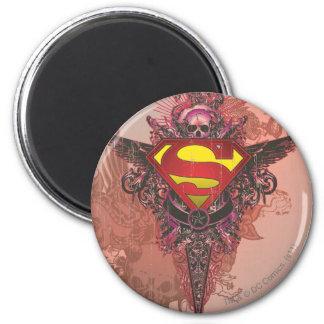 Superman Stylized | Grunge Design Logo 6 Cm Round Magnet