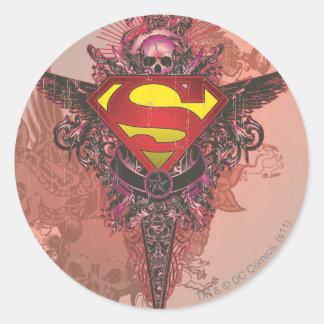 Superman Stylized | Grunge Design Logo Classic Round Sticker