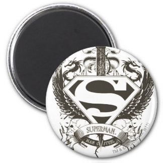 Superman Stylized | Honor, Truth on White Logo 6 Cm Round Magnet