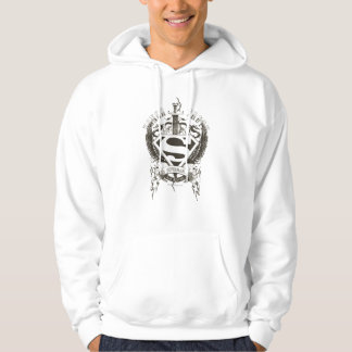 Superman Stylized   Honor, Truth on White Logo Hoodie