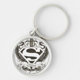 Superman Stylized   Honor, Truth on White Logo Key Ring