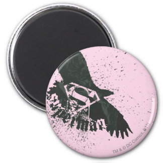 Superman Stylized   Pink with Bird Logo Magnet