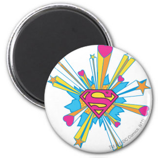 Superman Stylized | Pink with Hearts Logo 6 Cm Round Magnet