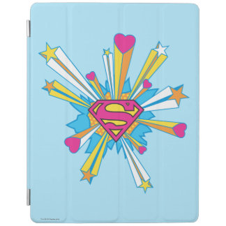 Superman Stylized | Pink with Hearts Logo iPad Cover
