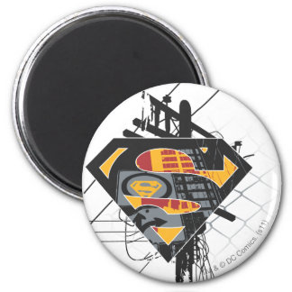 Superman Stylized | Powerlines Logo 6 Cm Round Magnet