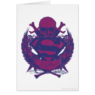 Superman Stylized | Purple and Pink Skull Logo Card