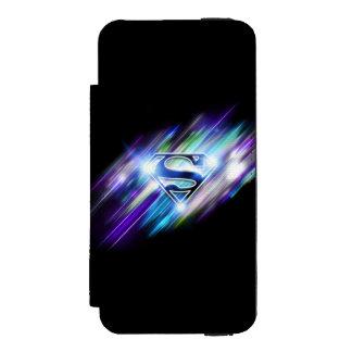 Superman Stylized   Shiny Blue Burst Logo Incipio Watson™ iPhone 5 Wallet Case