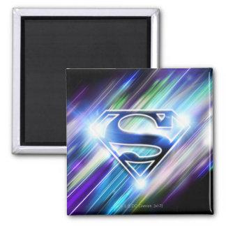 Superman Stylized | Shiny Blue Burst Logo Square Magnet