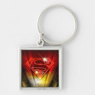 Superman Stylized   Shiny Red Outline Logo Key Ring