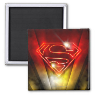 Superman Stylized | Shiny Red Outline Logo Square Magnet