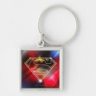 Superman Stylized   Shiny Yellow Outline Logo Key Ring