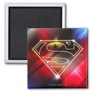 Superman Stylized | Shiny Yellow Outline Logo Square Magnet