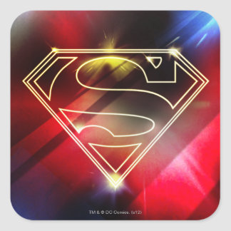 Superman Stylized | Shiny Yellow Outline Logo Square Sticker