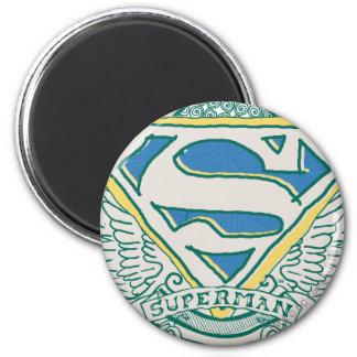 Superman Stylized | Sketched Crest Logo 6 Cm Round Magnet