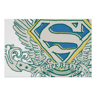 Superman Stylized | Sketched Crest Logo Poster