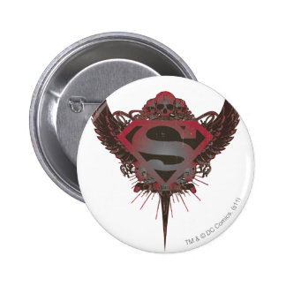 Superman Stylized | Skull and Wings Logo 6 Cm Round Badge