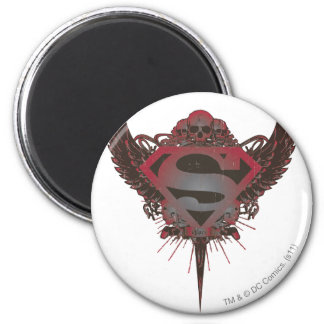 Superman Stylized | Skull and Wings Logo 6 Cm Round Magnet