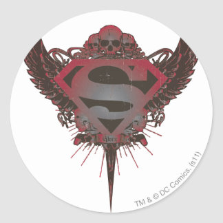 Superman Stylized | Skull and Wings Logo Classic Round Sticker