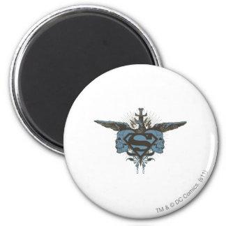 Superman Stylized | Skulls - Blue Logo 6 Cm Round Magnet