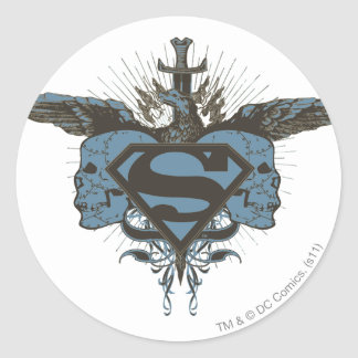 Superman Stylized | Skulls - Blue Logo Classic Round Sticker