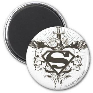 Superman Stylized | Skulls Logo 6 Cm Round Magnet