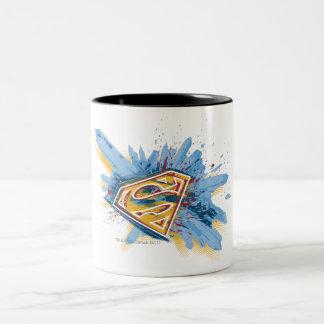 Superman Stylized | Splash Logo Two-Tone Coffee Mug