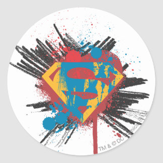 Superman Stylized | Splatter Logo Classic Round Sticker