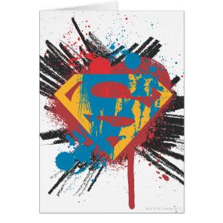 Superman Stylized | Splatter Logo Greeting Card