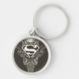 Superman Stylized   Star and Skull Logo Key Ring