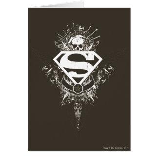 Superman Stylized   Star and Skull White Logo Card