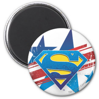 Superman Stylized | Stars and Stripes Logo 6 Cm Round Magnet