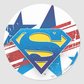 Superman Stylized | Stars and Stripes Logo Classic Round Sticker