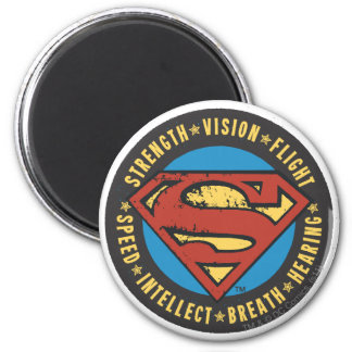 Superman Stylized | Strength Vision Flight Logo 6 Cm Round Magnet