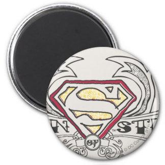 Superman Stylized | Texture Logo 6 Cm Round Magnet