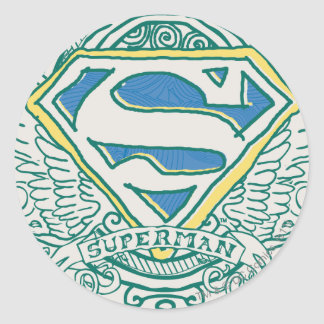 Superman Stylized | Wings and Name Logo Classic Round Sticker