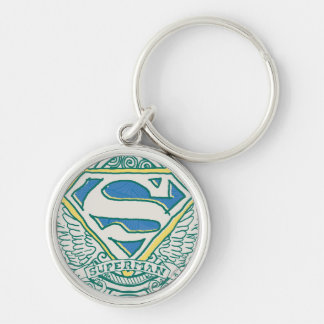 Superman Stylized   Wings and Name Logo Key Ring