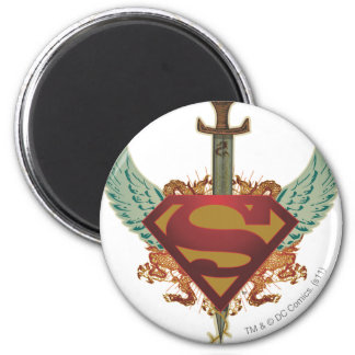 Superman Stylized | Wings Logo 6 Cm Round Magnet
