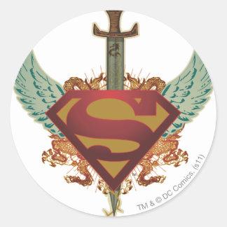 Superman Stylized | Wings Logo Classic Round Sticker
