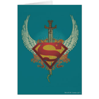 Superman Stylized   Wings Teal Background Logo Card