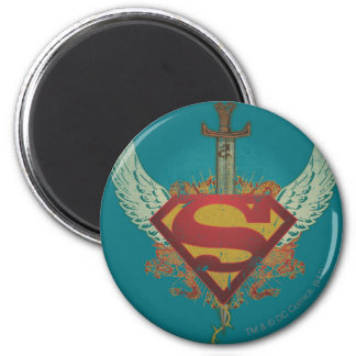 Superman Stylized | Wings Teal Background Logo Magnet
