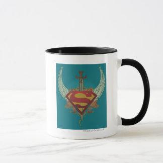 Superman Stylized | Wings Teal Background Logo Mug