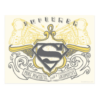 Superman Stylized | Yellow Drawn Trains Logo Postcard