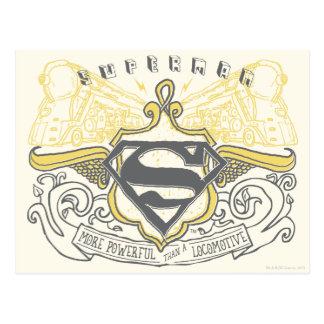 Superman Stylized | Yellow Drawn Trains Logo Postcard
