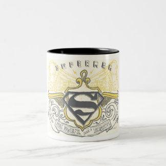 Superman Stylized | Yellow Drawn Trains Logo Two-Tone Coffee Mug