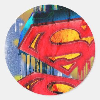 Superman Urban Spraypaint Round Sticker