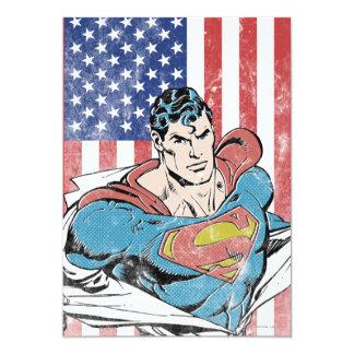 Superman & US Flag 13 Cm X 18 Cm Invitation Card