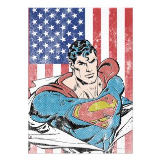 Superman US Flag Personalized Invitation