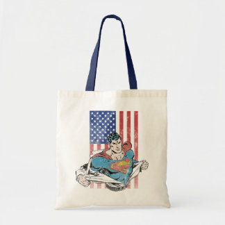Superman & US Flag Tote Bag